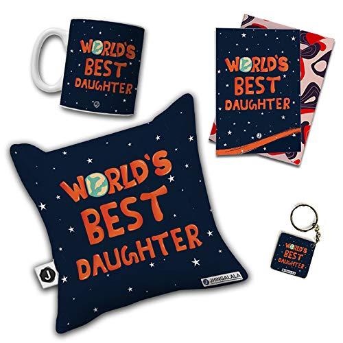 Jhingalala World's Best Daughter Printed Cushion Mug Key Chain